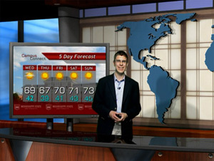 Ryan Hoke gives a forecast at Mississippi State University
