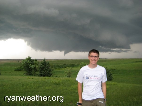 Ryan Hoke with funnel west of Aurora, NE