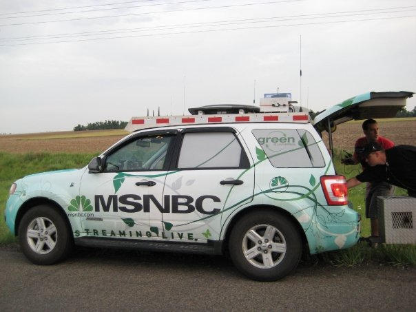 MSNBC SUV with crew from The Weather Channel and NBC