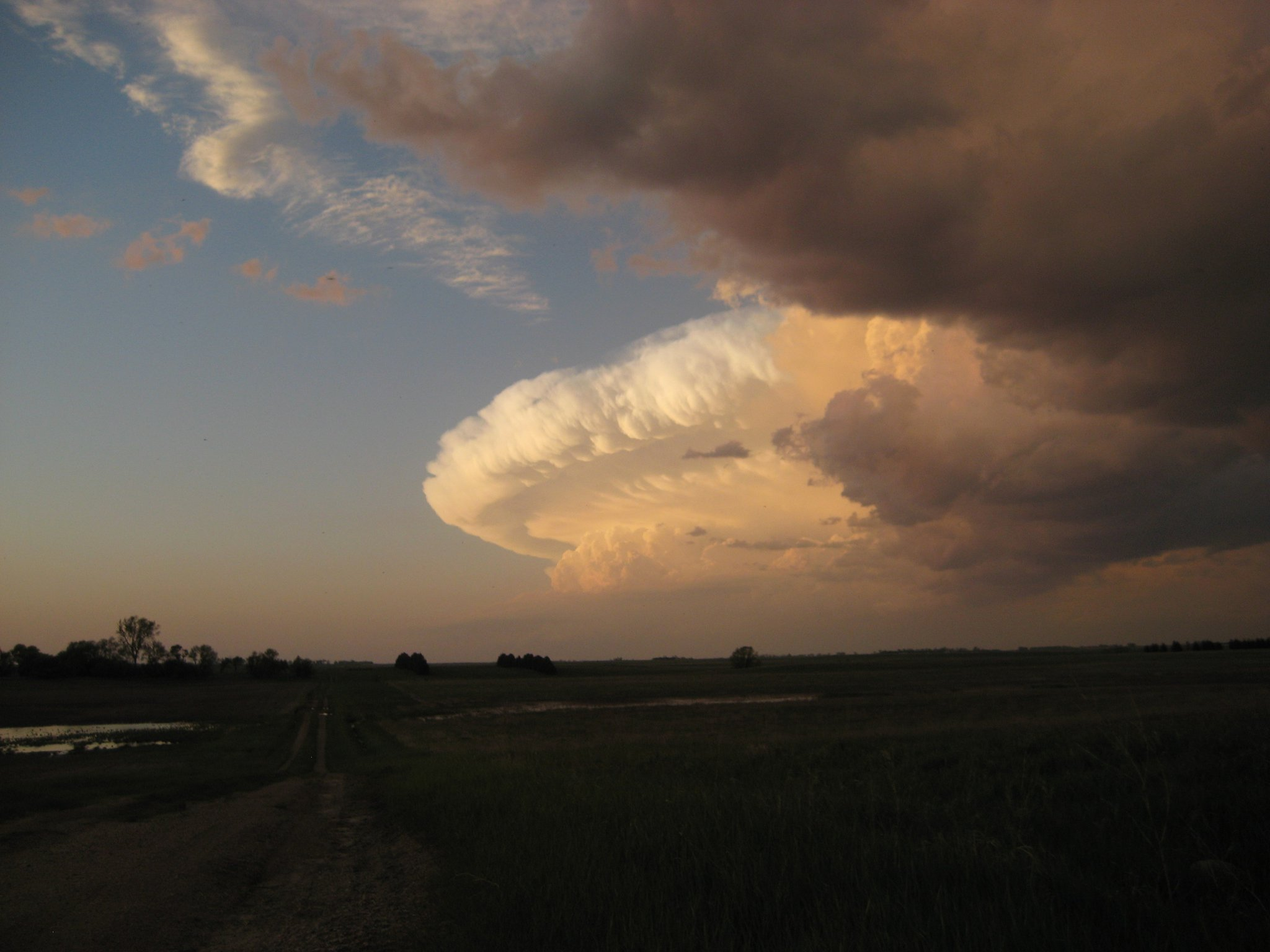 Supercell at sunset near Minot, ND